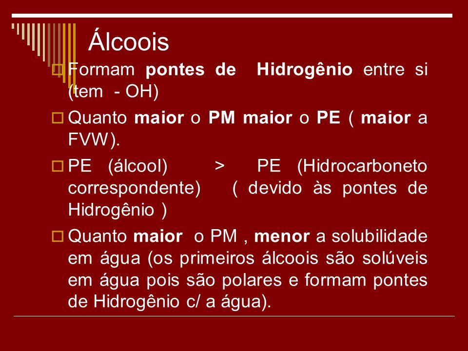 Álcoois Formam pontes de Hidrogênio entre si (tem - OH) Quanto maior o PM maior o PE ( maior a FVW).