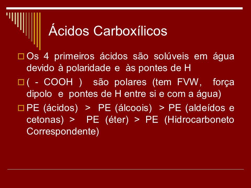 Ácidos Carboxílicos Os 4 primeiros ácidos são solúveis em água devido à polaridade e às pontes de H ( - COOH ) são polares (tem FVW, força dipolo e pontes de H entre si e com a água) PE (ácidos) > PE (álcoois) > PE (aldeídos e cetonas) > PE (éter) > PE (Hidrocarboneto Correspondente)