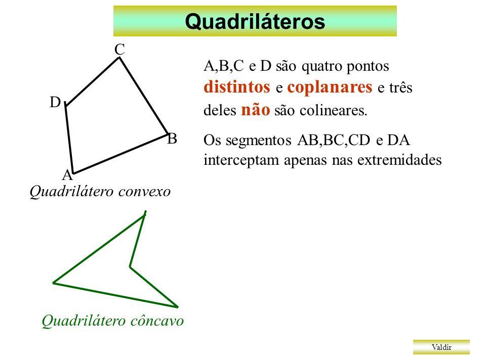 Quadriláteros Valdir Quadriláteros notáveis T P R L Q Trapézio: dois lados paralelos Cuidado: não significa apenas dois Paralelogramo: lados opostos paralelos Retângulo: quatro ângulos congruentes Losango: quatro lados congruentes Quadrado: lados e ângulos congruentes