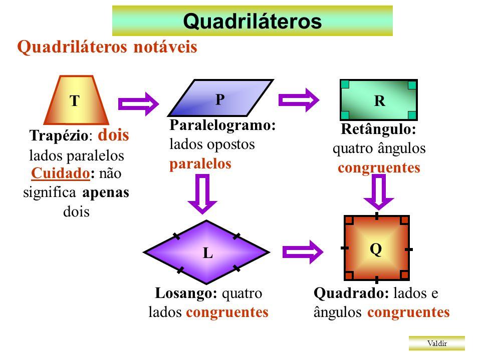 Quadriláteros Valdir Quadriláteros notáveis: propriedades dos paralelogramos P-1 ângulos opostos congruentes P-2 lados opostos congruentes P-3 as diagonais dividem-se ao meio ( ponto médio ) P-4 todo paralelogramo que tem diagonais congruentes é retângulo P-5 todo paralelogramo que tem diagonais perpendiculares é losango P-6 todo quadrado é retângulo e também losango e portanto suas diagonais são congruentes e perpendiculares + = 180°