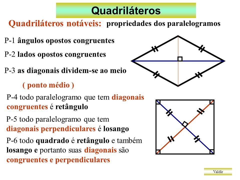 Quadriláteros Valdir Quadriláteros notáveis: propriedades dos paralelogramos P-1 ângulos opostos congruentes P-2 lados opostos congruentes P-3 as diagonais dividem-se ao meio ( ponto médio ) P-4 todo paralelogramo que tem diagonais congruentes é retângulo P-5 todo paralelogramo que tem diagonais perpendiculares é losango P-6 todo quadrado é retângulo e também losango e portanto suas diagonais são congruentes e perpendiculares