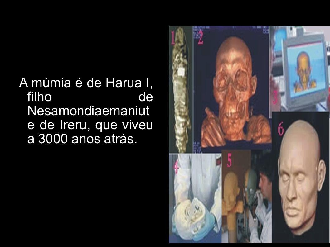 A múmia é de Harua I, filho de Nesamondiaemaniut e de Ireru, que viveu a 3000 anos atrás.