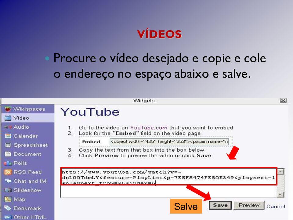 Procure o vídeo desejado e copie e cole o endereço no espaço abaixo e salve. Salve VÍDEOS