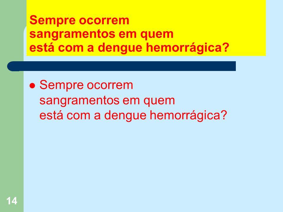 14 Sempre ocorrem sangramentos em quem está com a dengue hemorrágica