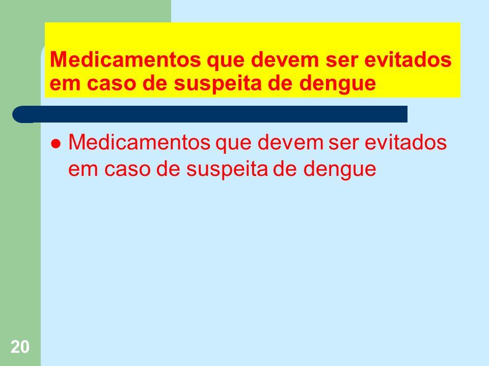 20 Medicamentos que devem ser evitados em caso de suspeita de dengue