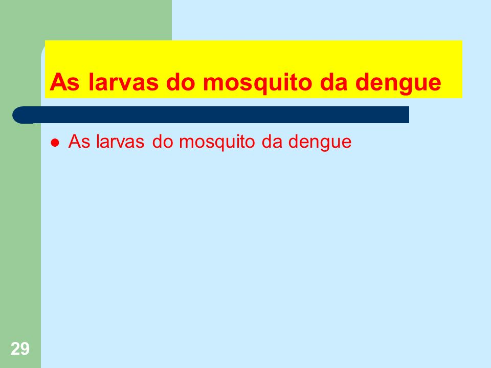 29 As larvas do mosquito da dengue