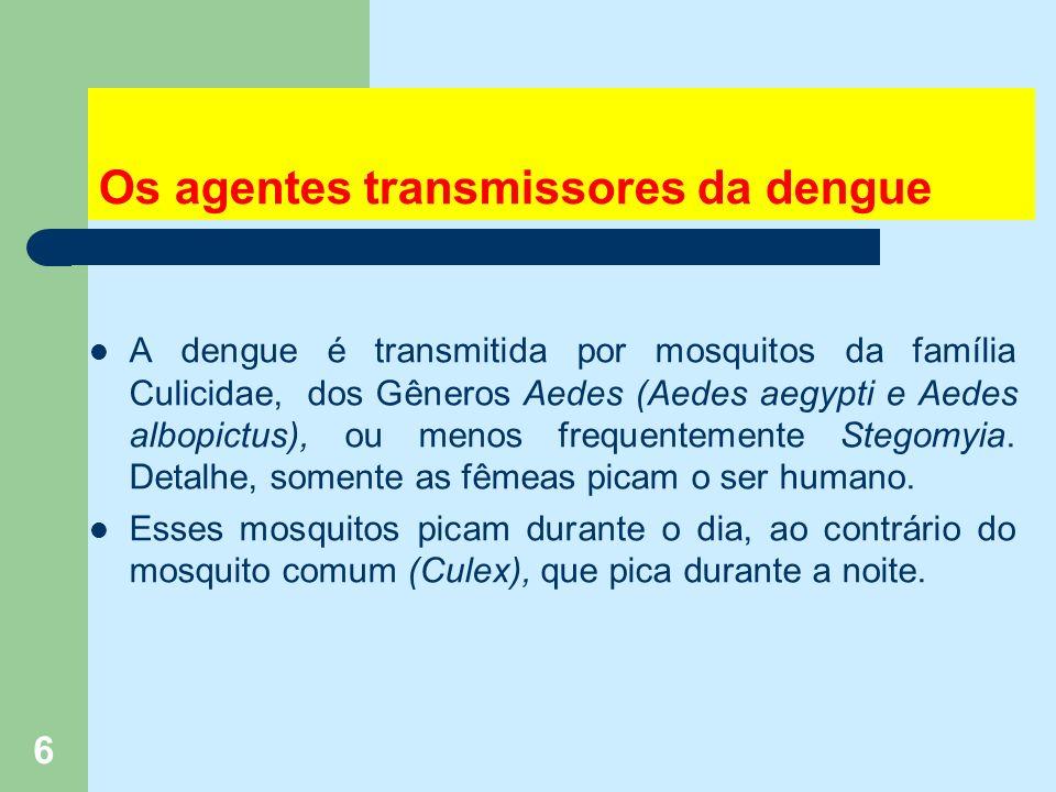 6 Os agentes transmissores da dengue A dengue é transmitida por mosquitos da família Culicidae, dos Gêneros Aedes (Aedes aegypti e Aedes albopictus), ou menos frequentemente Stegomyia.
