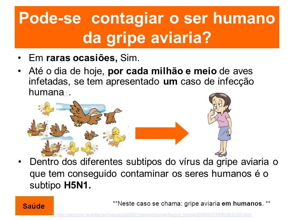 Pode-se contagiar o ser humano da gripe aviaria? Em raras ocasiões, Sim. Até o dia de hoje, por cada milhão e meio de aves infetadas, se tem apresenta