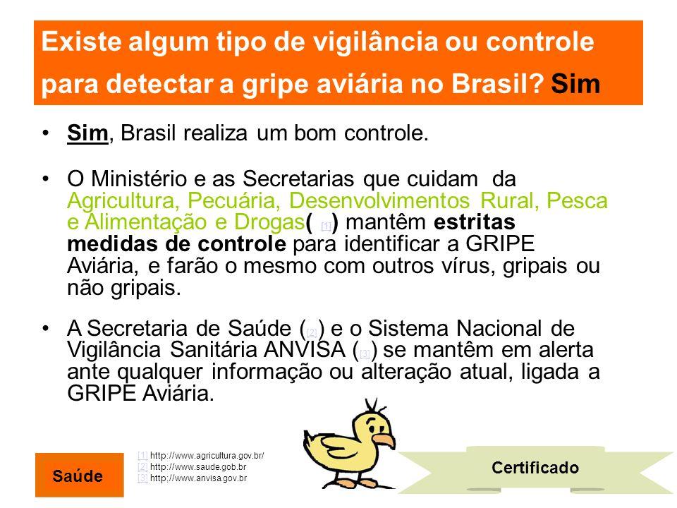 Existe algum tipo de vigilância ou controle para detectar a gripe aviária no Brasil? Sim Sim, Brasil realiza um bom controle. O Ministério e as Secret