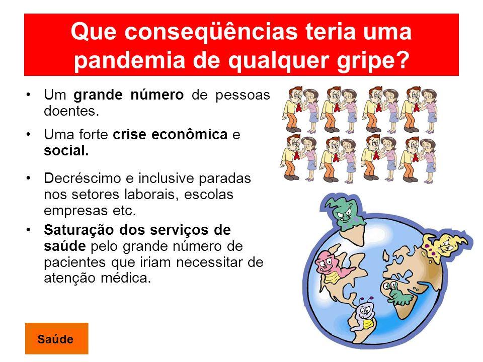 Que conseqüências teria uma pandemia de qualquer gripe? Um grande número de pessoas doentes. Uma forte crise econômica e social. Decréscimo e inclusiv