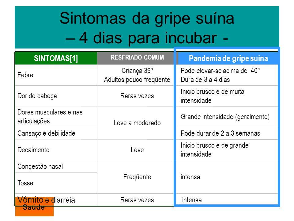 Sintomas da gripe suína – 4 dias para incubar - SINTOMAS[1] RESFRIADO COMUM Pandemia de gripe suína Febre Criança 39º Adultos pouco freqüente Pode ele
