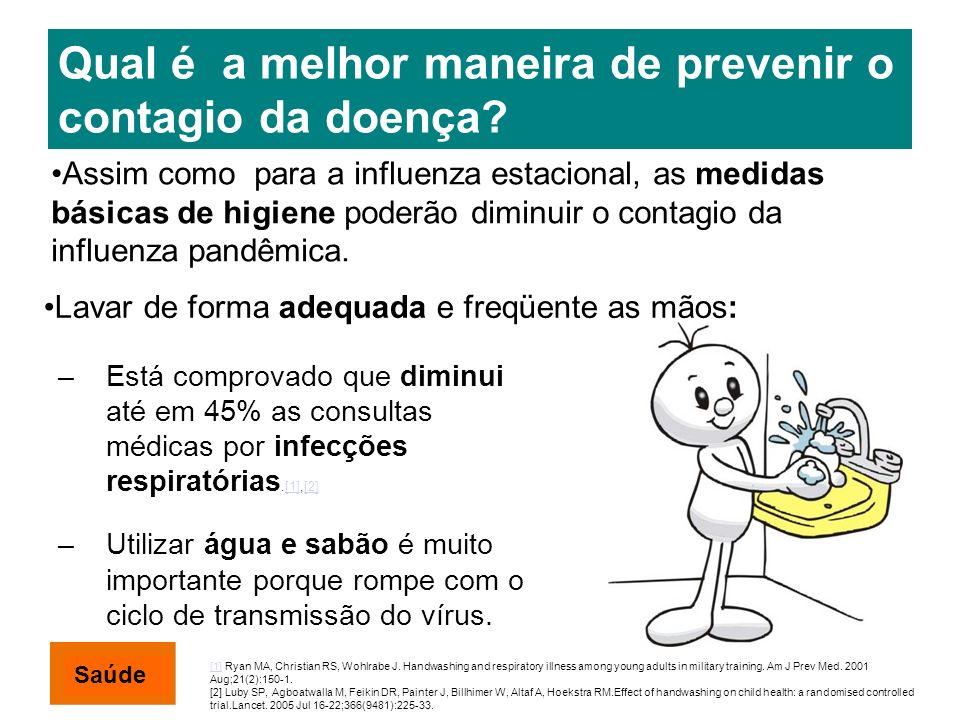Qual é a melhor maneira de prevenir o contagio da doença? –Está comprovado que diminui até em 45% as consultas médicas por infecções respiratórias.[1]