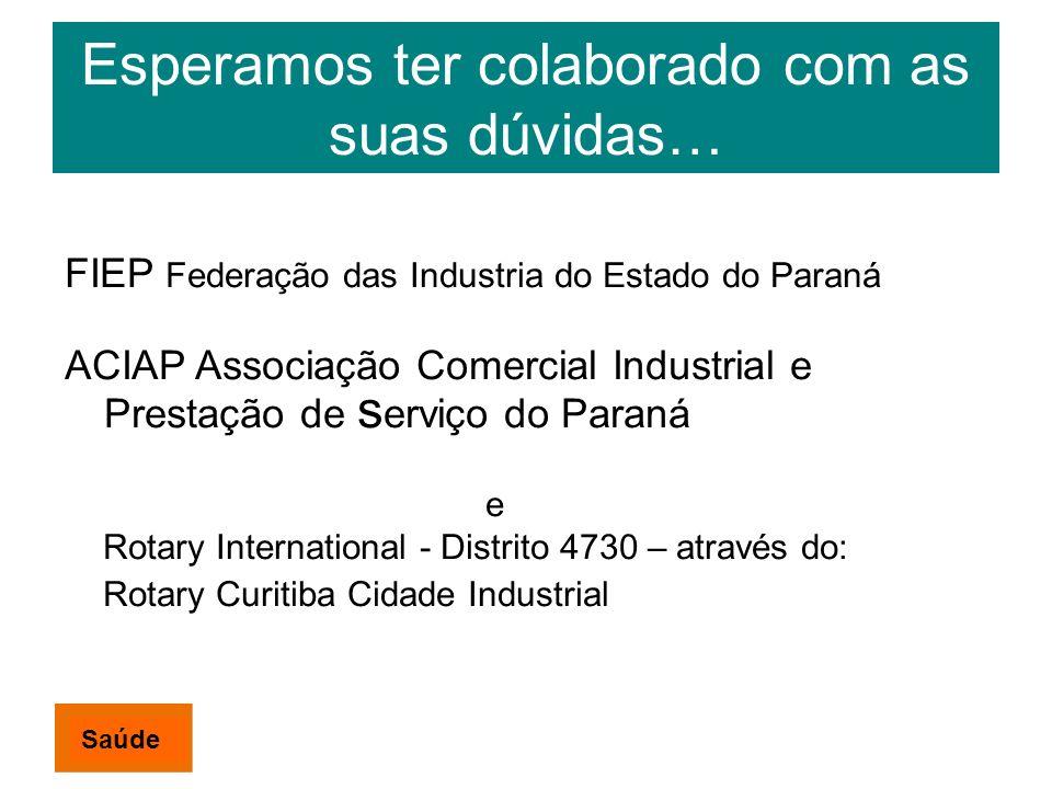 Esperamos ter colaborado com as suas dúvidas… FIEP Federação das Industria do Estado do Paraná ACIAP Associação Comercial Industrial e Prestação de s