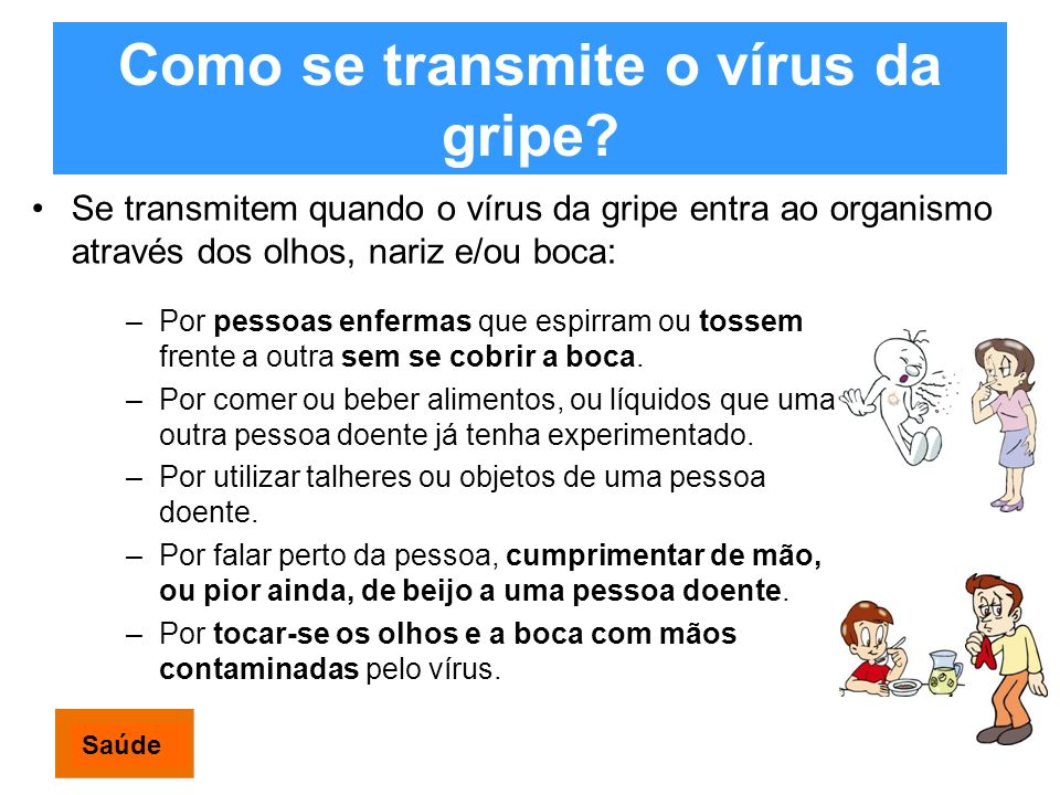 Como se transmite o vírus da gripe? Se transmitem quando o vírus da gripe entra ao organismo através dos olhos, nariz e/ou boca: –Por pessoas enfermas