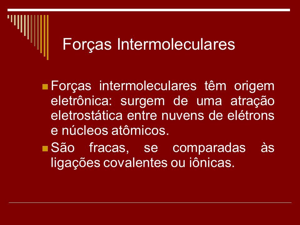 Forças intermoleculares têm origem eletrônica: surgem de uma atração eletrostática entre nuvens de elétrons e núcleos atômicos.