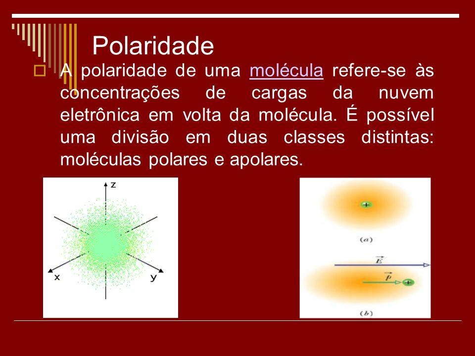 Polaridade A polaridade de uma molécula refere-se às concentrações de cargas da nuvem eletrônica em volta da molécula.