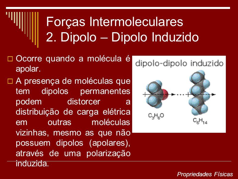 Forças Intermoleculares 2. Dipolo – Dipolo Induzido Ocorre quando a molécula é apolar.