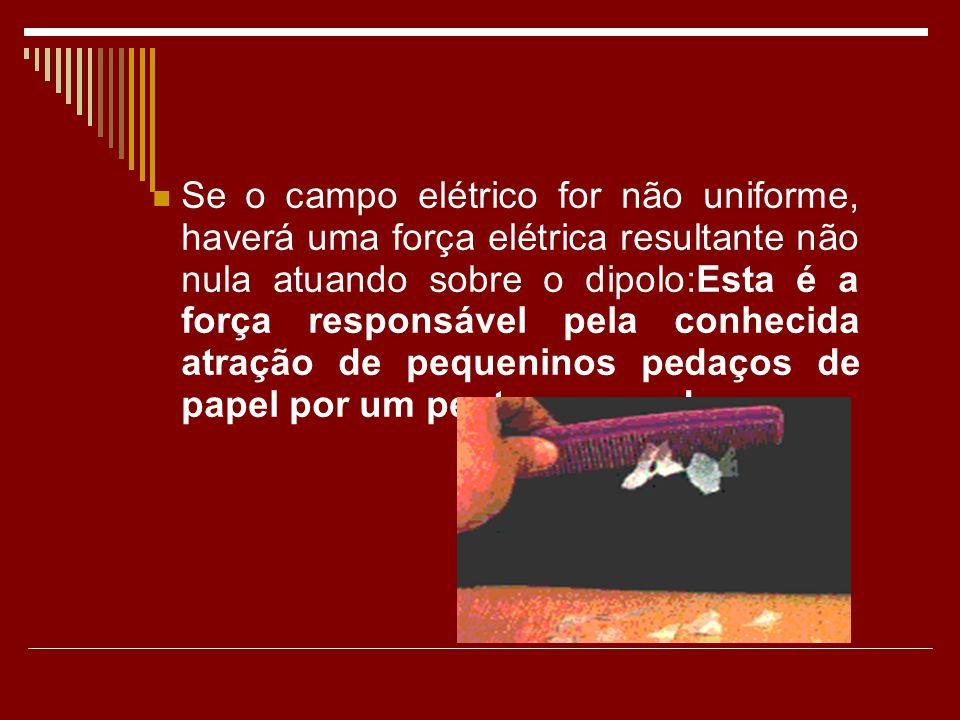 Se o campo elétrico for não uniforme, haverá uma força elétrica resultante não nula atuando sobre o dipolo:Esta é a força responsável pela conhecida atração de pequeninos pedaços de papel por um pente carregado.
