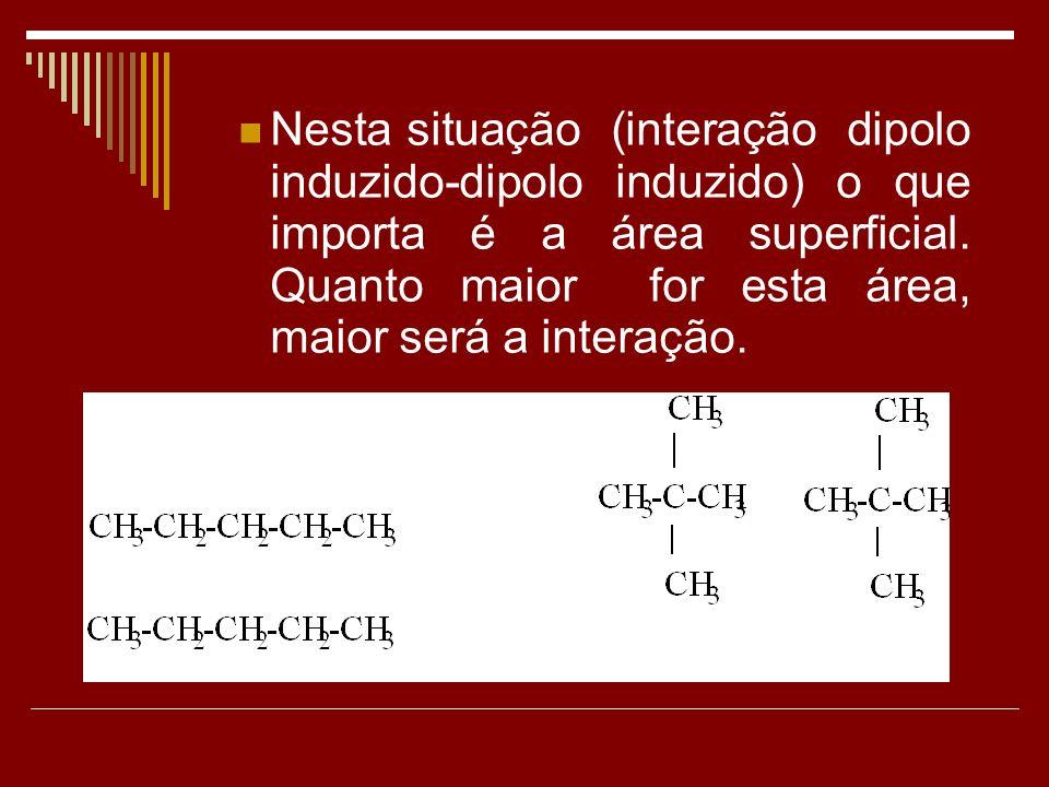 Nesta situação (interação dipolo induzido-dipolo induzido) o que importa é a área superficial.