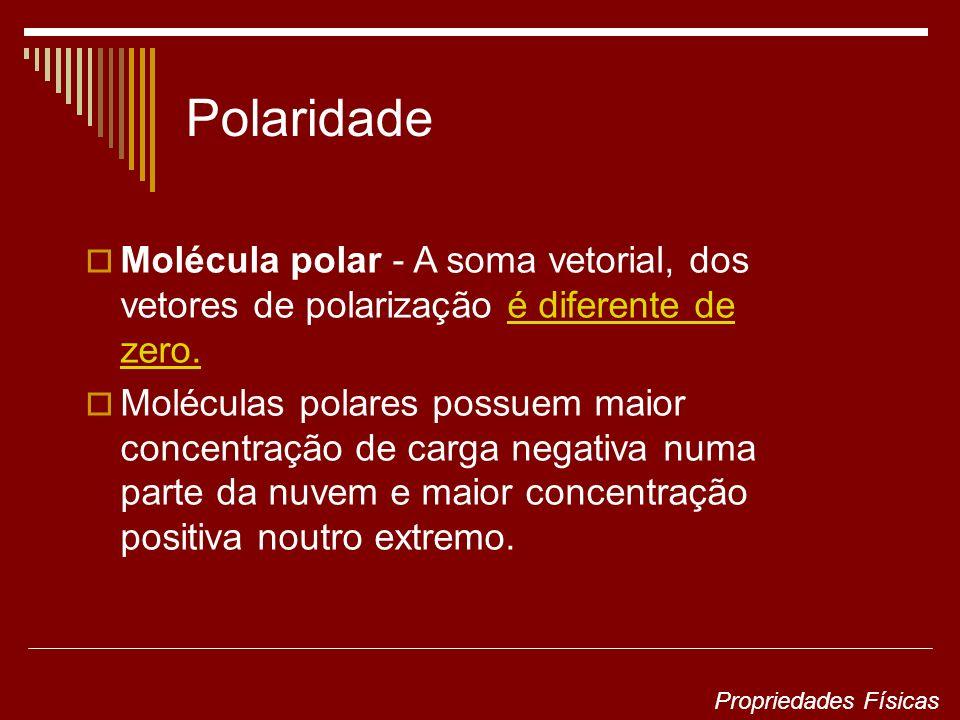 Polaridade Molécula polar - A soma vetorial, dos vetores de polarização é diferente de zero.