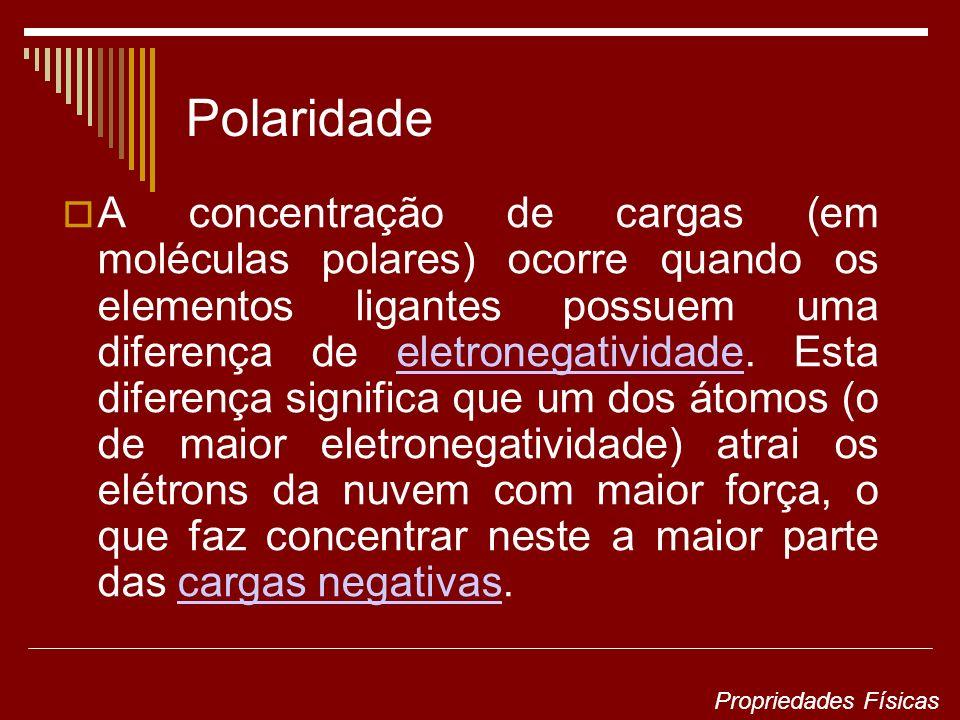 A concentração de cargas (em moléculas polares) ocorre quando os elementos ligantes possuem uma diferença de eletronegatividade.