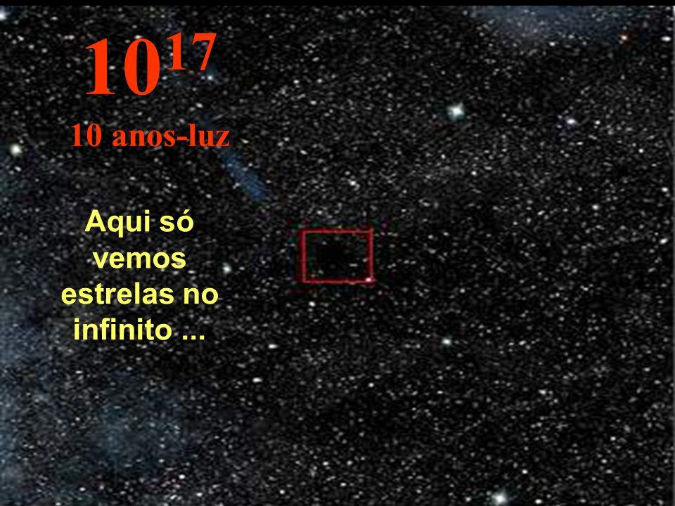 Aqui mudamos para outra grandeza: o ano-luz. A estrela Sol aparece bem pequena. 10 16 1 ano-luz