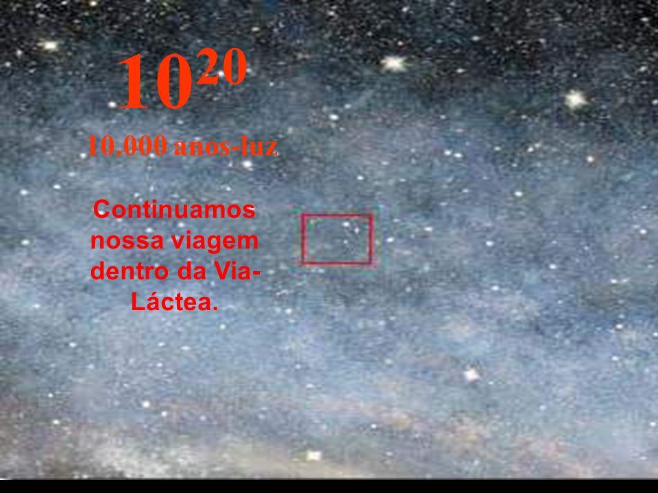 10 19 1.000 anos-luz A essa distância as estrelas parecem se fundir. Estamos viajando pela Via-Láctea, nossa galáxia.