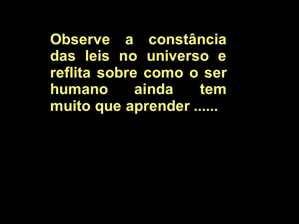 Observe a constância das leis no universo e reflita sobre como o ser humano ainda tem muito que aprender......