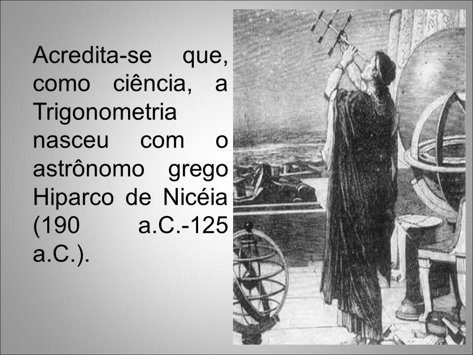 A palavra trigonometria (do grego trigono=triangular e metria=medida) teve origem na resolução de problemas práticos relacionados principalmente à navegação e à Astronomia.