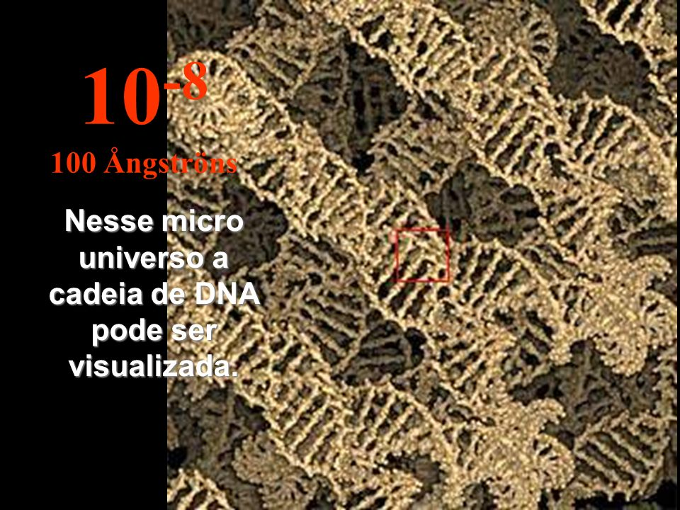 Nesse micro universo a cadeia de DNA pode ser visualizada. 10 -8 100 Ångströns