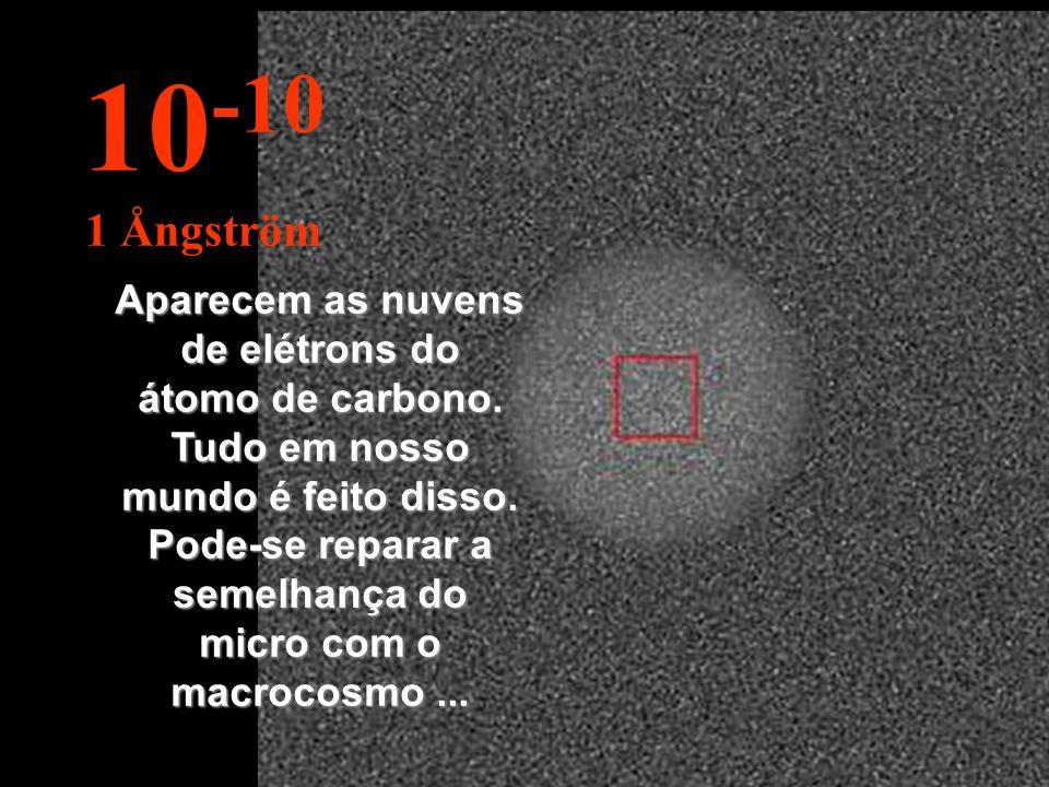Aparecem as nuvens de elétrons do átomo de carbono.