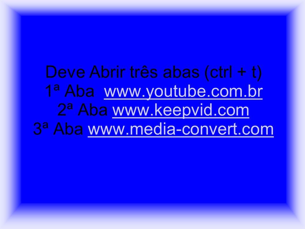 Deve Abrir três abas (ctrl + t) 1ª Aba www.youtube.com.br 2ª Aba www.keepvid.com 3ª Aba www.media-convert.comwww.youtube.com.brwww.keepvid.comwww.medi