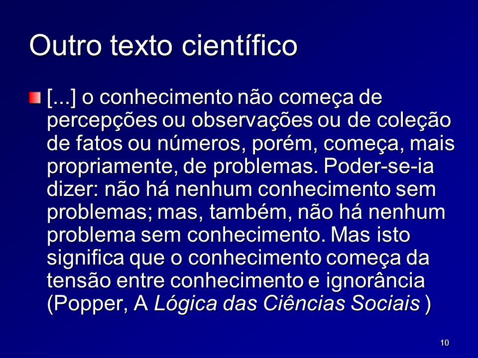 10 Outro texto científico [...] o conhecimento não começa de percepções ou observações ou de coleção de fatos ou números, porém, começa, mais propriamente, de problemas.