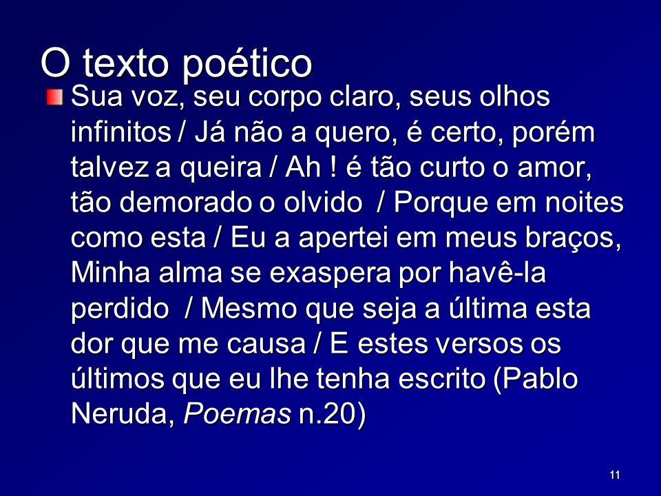 11 O texto poético Sua voz, seu corpo claro, seus olhos infinitos / Já não a quero, é certo, porém talvez a queira / Ah .