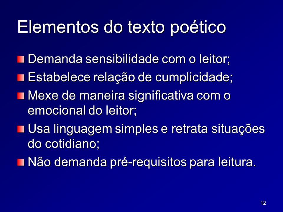12 Elementos do texto poético Demanda sensibilidade com o leitor; Estabelece relação de cumplicidade; Mexe de maneira significativa com o emocional do leitor; Usa linguagem simples e retrata situações do cotidiano; Não demanda pré-requisitos para leitura.