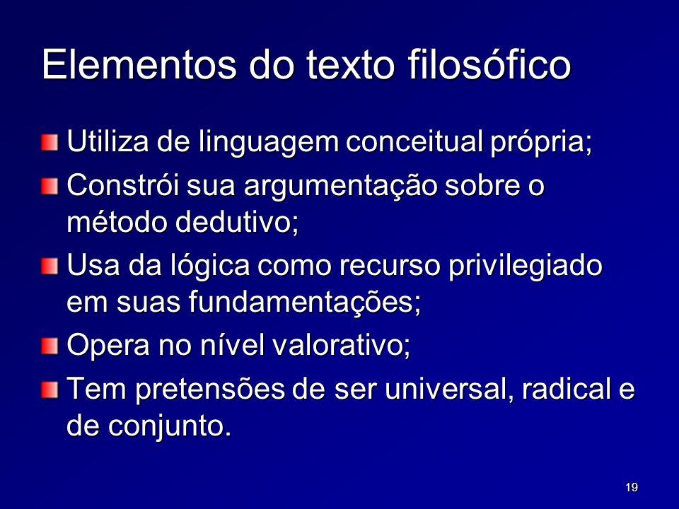 19 Elementos do texto filosófico Utiliza de linguagem conceitual própria; Constrói sua argumentação sobre o método dedutivo; Usa da lógica como recurs