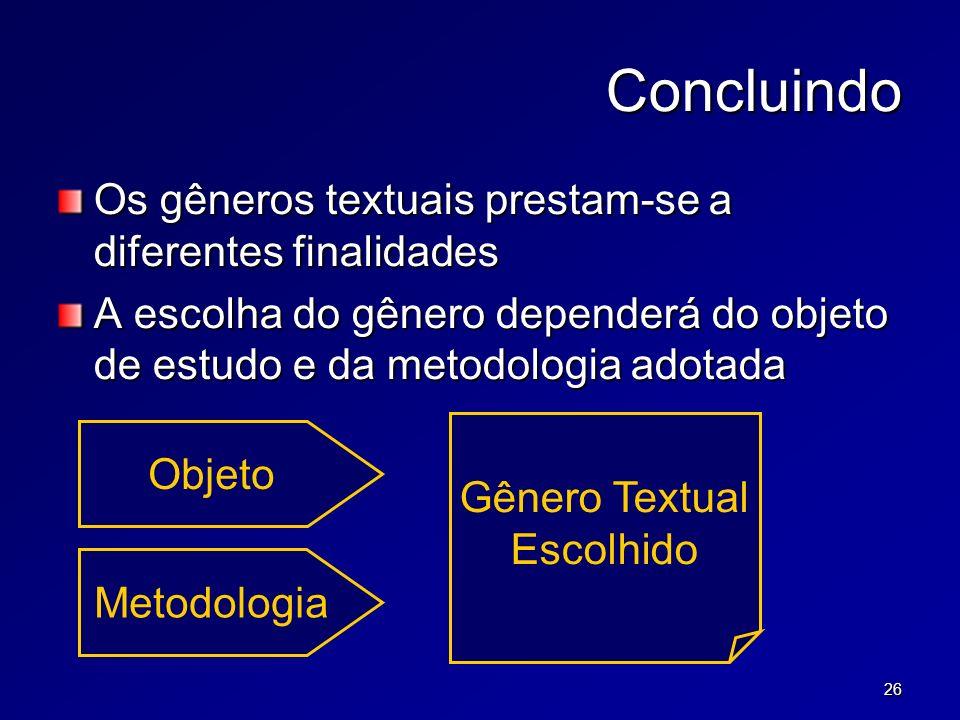 26 Concluindo Os gêneros textuais prestam-se a diferentes finalidades A escolha do gênero dependerá do objeto de estudo e da metodologia adotada Objeto Metodologia Gênero Textual Escolhido