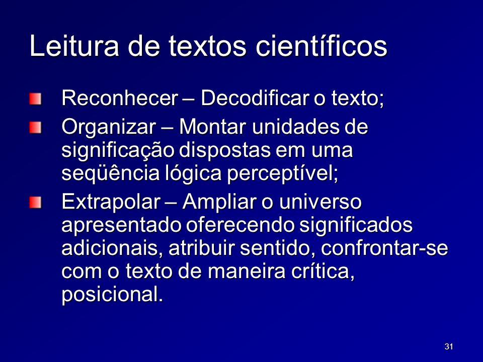 31 Leitura de textos científicos Reconhecer – Decodificar o texto; Organizar – Montar unidades de significação dispostas em uma seqüência lógica perce