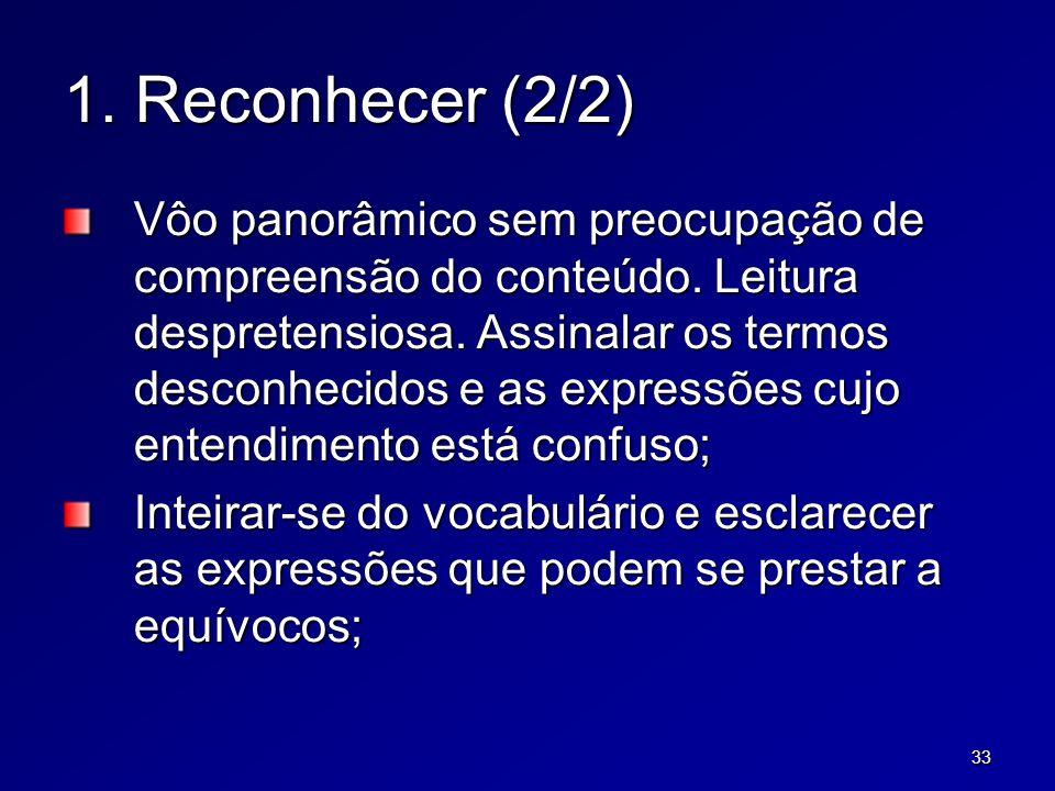 33 1. Reconhecer (2/2) Vôo panorâmico sem preocupação de compreensão do conteúdo. Leitura despretensiosa. Assinalar os termos desconhecidos e as expre