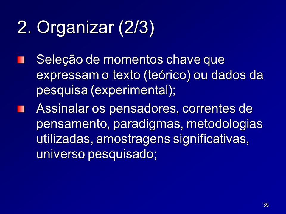 35 2. Organizar (2/3) Seleção de momentos chave que expressam o texto (teórico) ou dados da pesquisa (experimental); Assinalar os pensadores, corrente