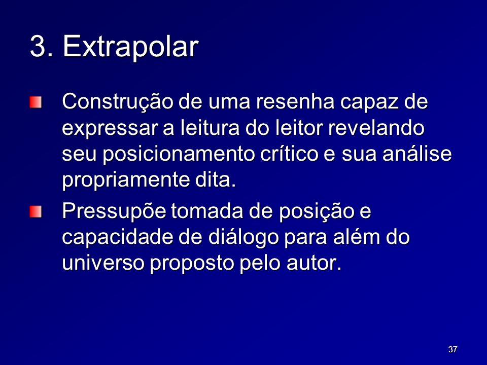 37 3. Extrapolar Construção de uma resenha capaz de expressar a leitura do leitor revelando seu posicionamento crítico e sua análise propriamente dita