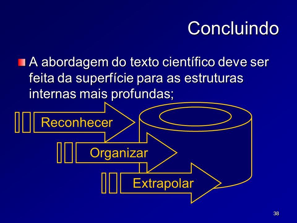 38 Concluindo A abordagem do texto científico deve ser feita da superfície para as estruturas internas mais profundas; Reconhecer Extrapolar Organizar