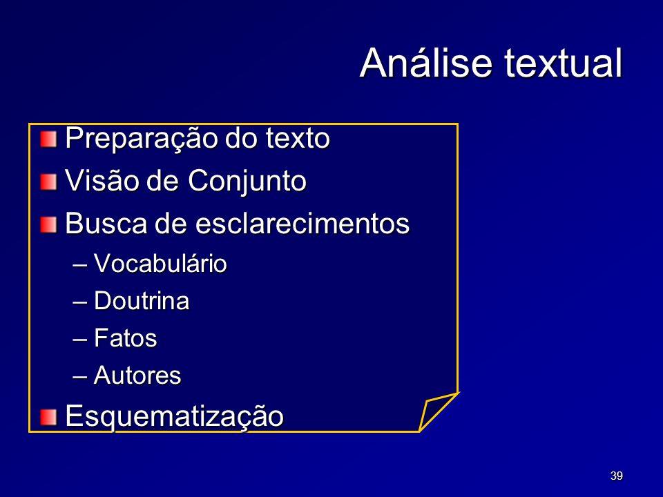 39 Análise textual Preparação do texto Visão de Conjunto Busca de esclarecimentos –Vocabulário –Doutrina –Fatos –Autores Esquematização