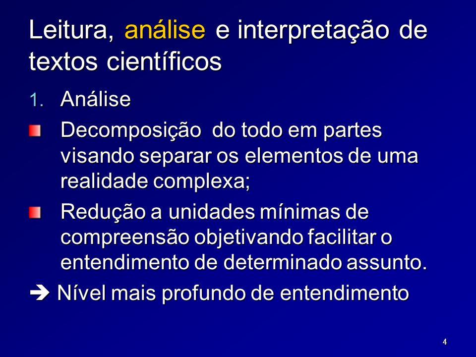 4 Leitura, análise e interpretação de textos científicos 1.