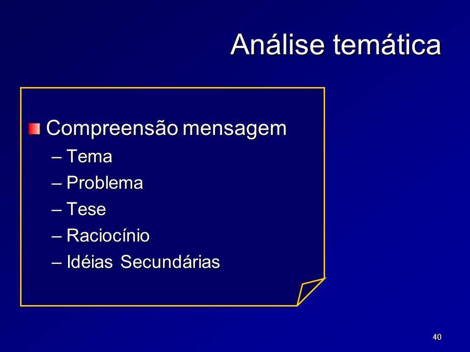 40 Análise temática Compreensão mensagem –Tema –Problema –Tese –Raciocínio –Idéias Secundárias