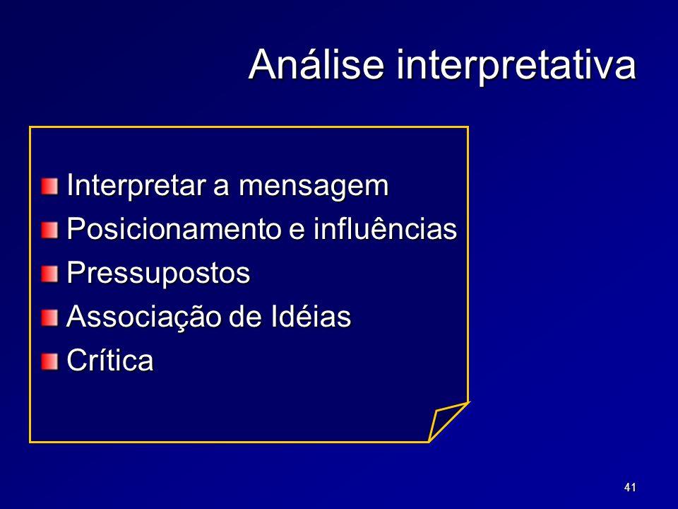 41 Análise interpretativa Interpretar a mensagem Posicionamento e influências Pressupostos Associação de Idéias Crítica
