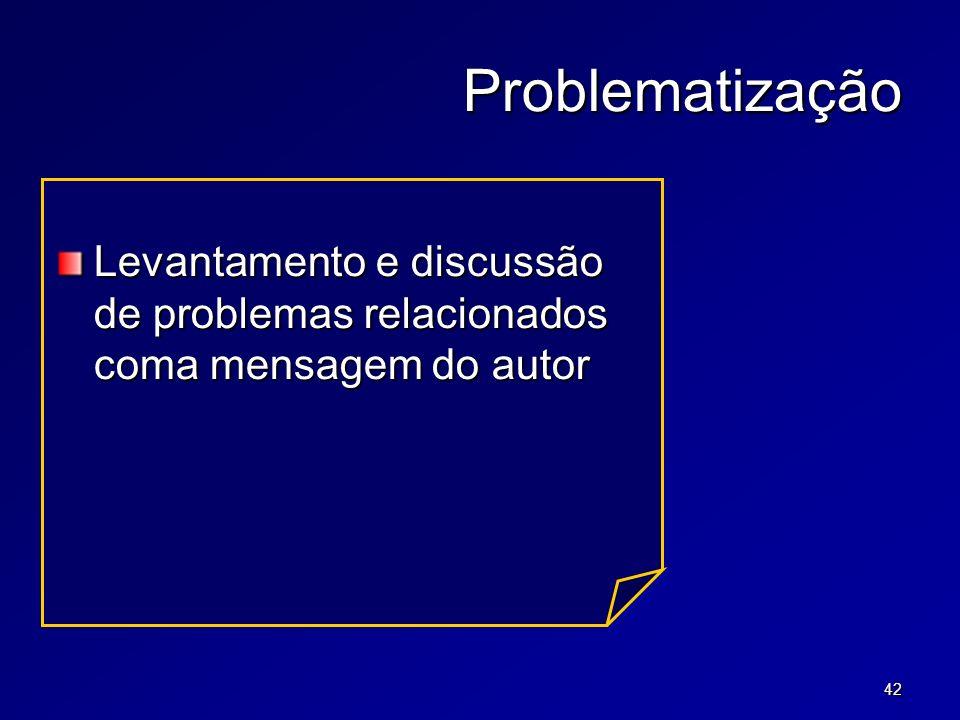 42 Problematização Levantamento e discussão de problemas relacionados coma mensagem do autor