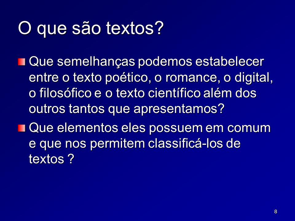 8 O que são textos? Que semelhanças podemos estabelecer entre o texto poético, o romance, o digital, o filosófico e o texto científico além dos outros