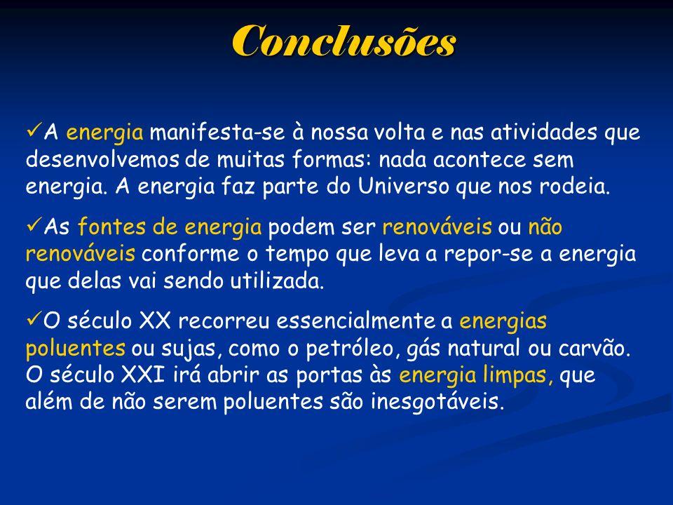 Conclusões A energia manifesta-se à nossa volta e nas atividades que desenvolvemos de muitas formas: nada acontece sem energia. A energia faz parte do