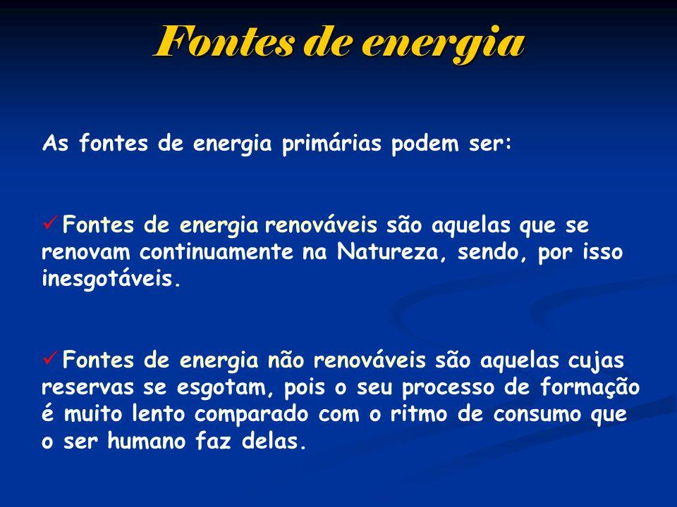 As fontes de energia primárias podem ser: Fontes de energia renováveis são aquelas que se renovam continuamente na Natureza, sendo, por isso inesgotáv